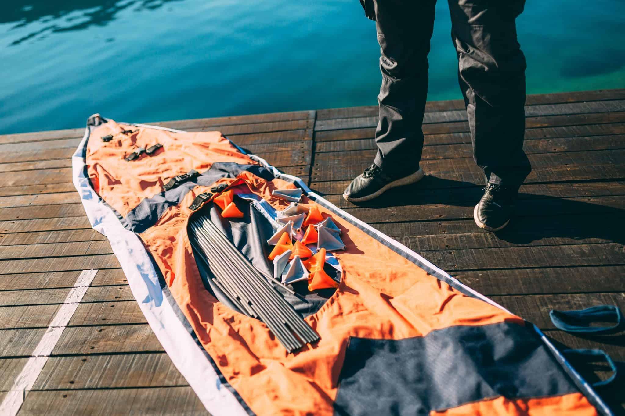Folding kayak by the lake