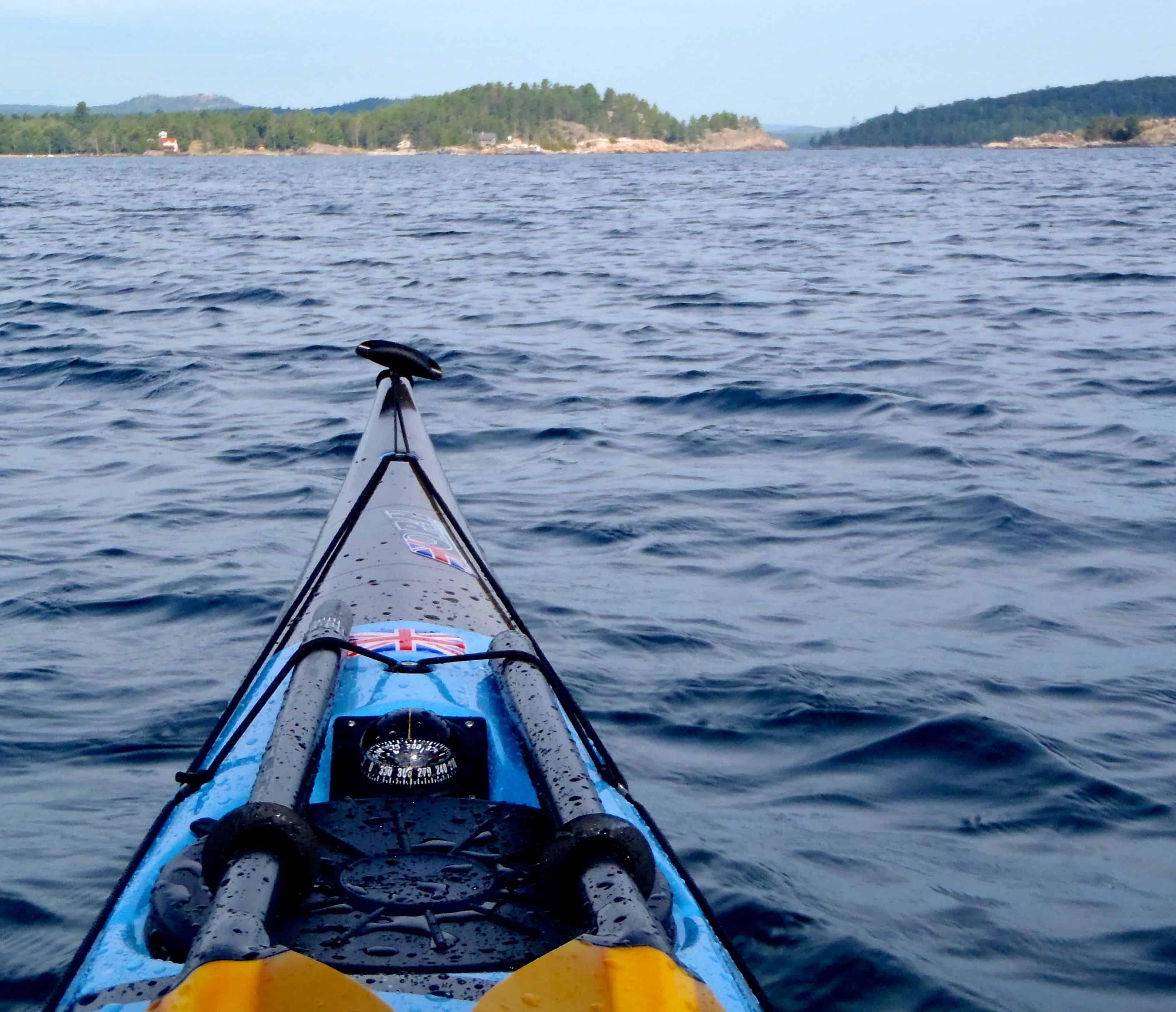 Compass mounted on kayak